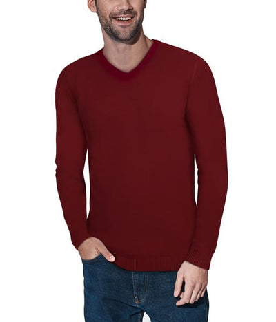 Classic Red V-Neck Ribbed Pullover Slim Fit Sweater - Front View