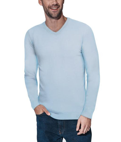Classic Powder Blue V-Neck Ribbed Pullover Slim Fit Sweater - Front View