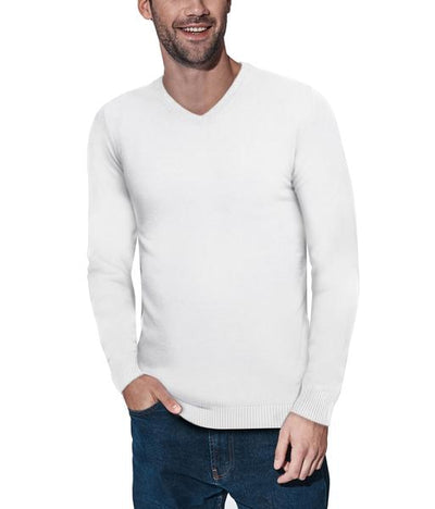 Classic Off White V-Neck Ribbed Pullover Slim Fit Sweater - Front View