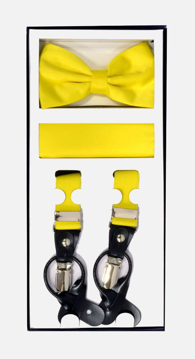 Men's Skinny Yellow 3 Piece Suspenders Set | Elastic Button and Clip Convertible