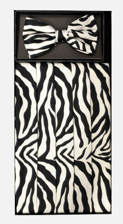 Men's Silk Black & White Zebra Cummerbund with Bow Tie