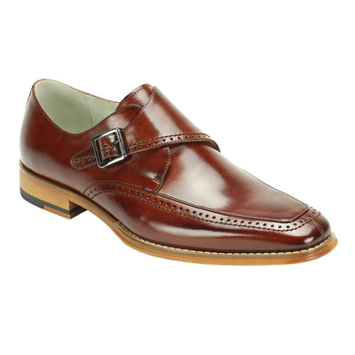 Giovanni Amato Cognac Monk Strap Men's Dress Shoes