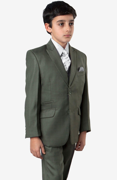 Boy's 5 Piece Green Suit with Vest, Shirt, and Tie