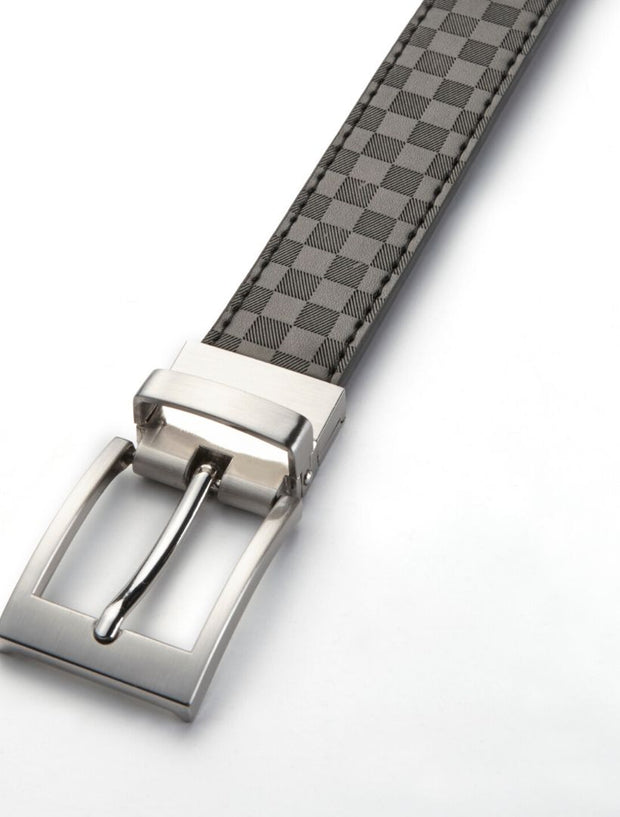 Men's Onyx Black Checkered Leather Belt