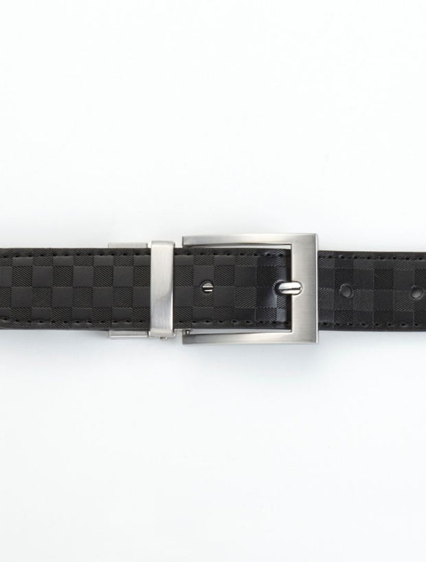 Men's Onyx Black Checkered Leather Belt - Shows Belt Buckled