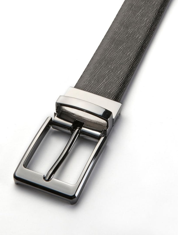 Men's Onyx Black Waved Leather Belt