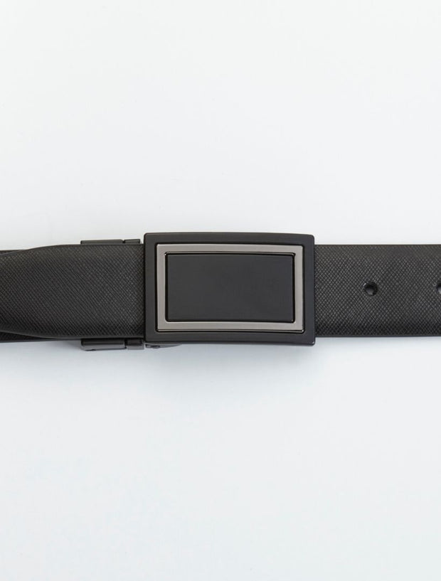 Men's Black Waved Leather Belt