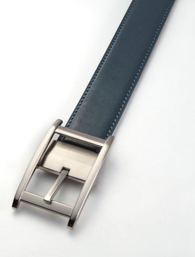 Men's Navy Stitch Edge Leather Belt