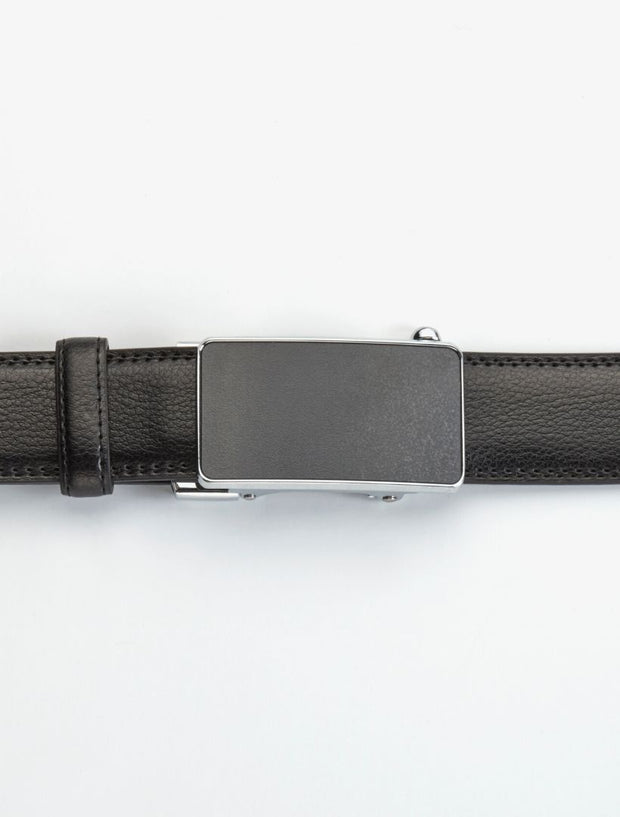 Men's Onyx Black Stitch Edge Leather Belt - Shows Belt Buckled