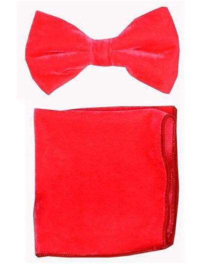 Coral Velvet Bowtie and Hanky