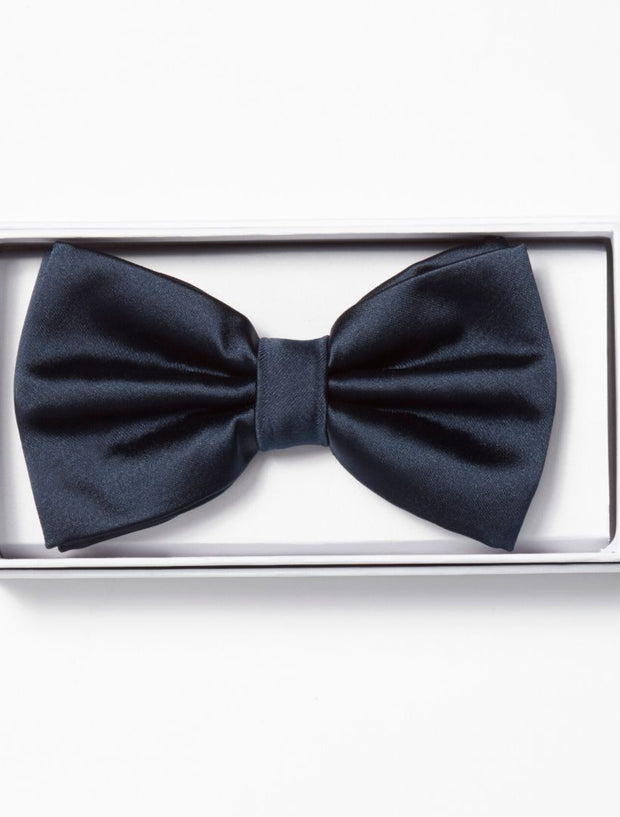 Mens Adjustable Pre-Tied Satin Bowtie In Navy