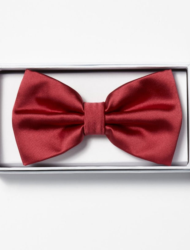 Mens Adjustable Pre-Tied Satin Bowtie In Dark Red