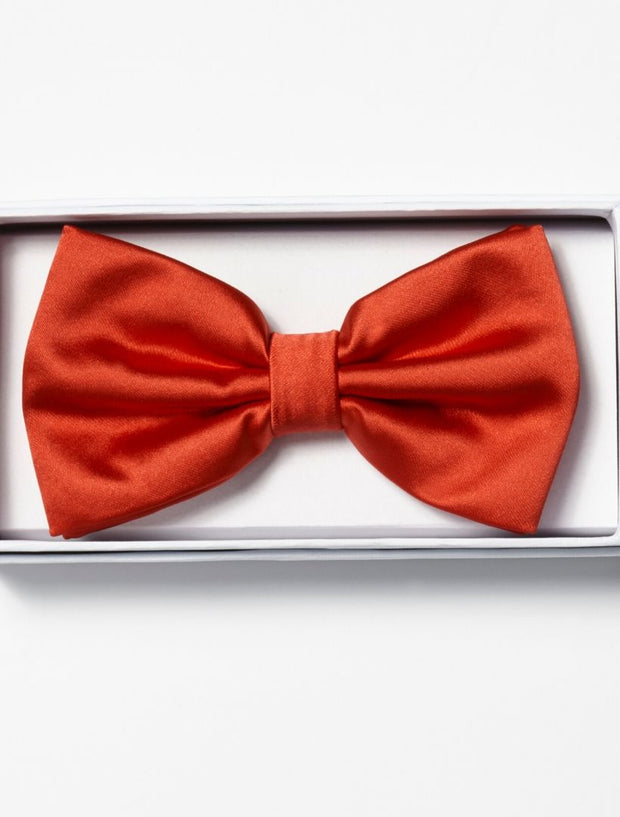 Mens Adjustable Pre-Tied Satin Bowtie In Red