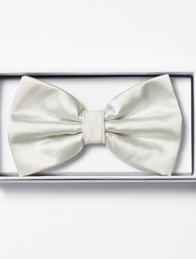 Mens Adjustable Pre-Tied Satin Bowtie In White