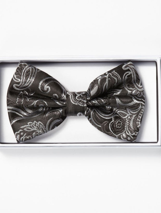 Mens Adjustable Pre-Tied Satin Bowtie with Paisley Print in Black