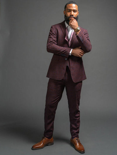 Men's Burgundy Checkered Vested FUBU Suit