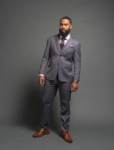 Men's Solid Grey Slim Fit Vested FUBU Suit