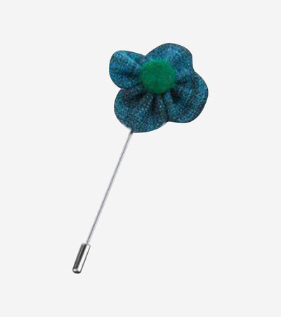 Teal and Green Flower Lapel Pin