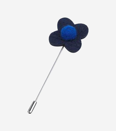 Navy with Blue Flower Lapel Pin