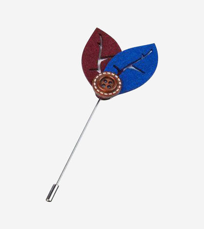 Ruby Red and Royal Blue Leaf Lapel Pin with Button