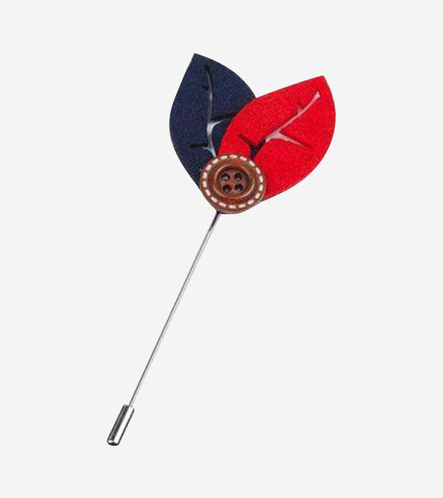 Navy and Red Leaf Lapel Pin with Button