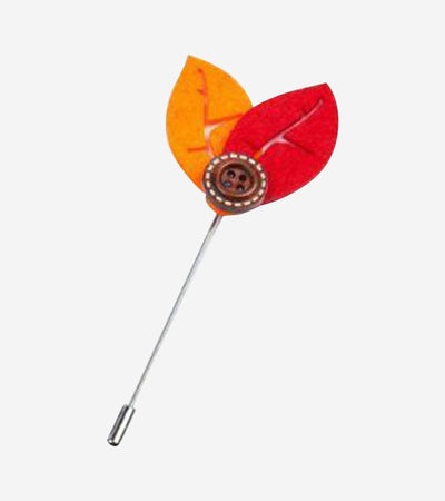 Orange and Red Leaf Lapel Pin with Button