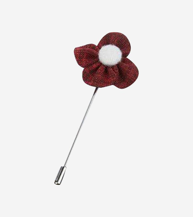 Dusty Maroon & White Flower Lapel Pin