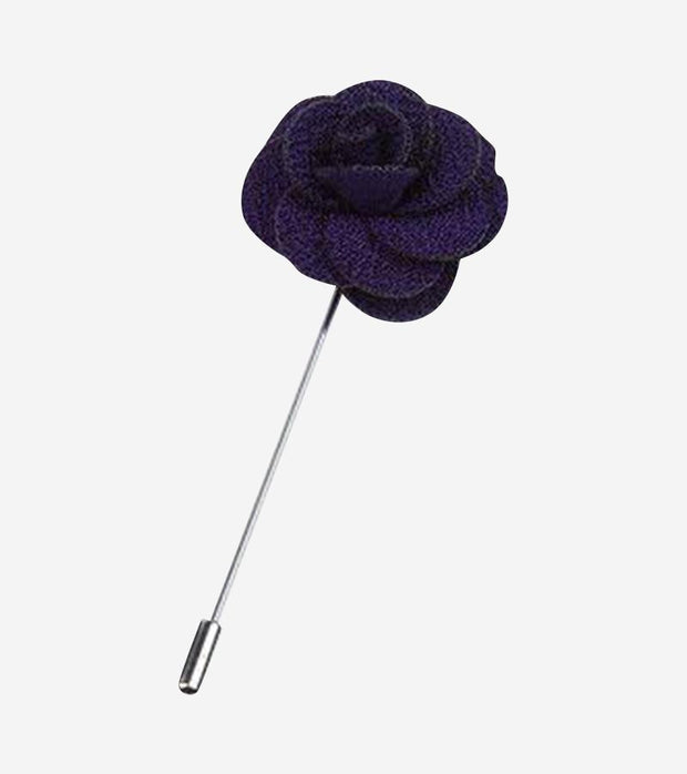 Midnight Purple Waved Flower Lapel Pin