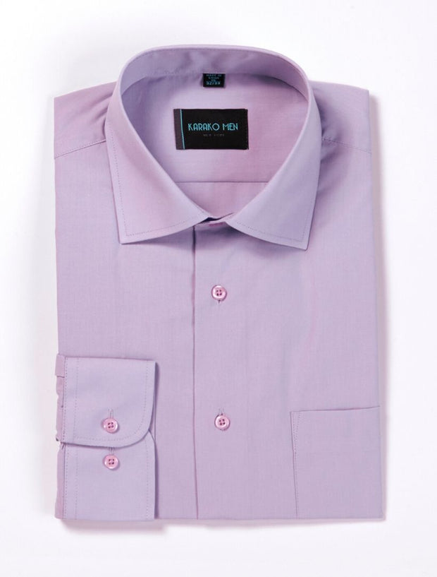 Karako Men Lavender Modern Fit Dress Shirt
