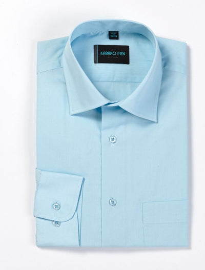 Karako Men Light Blue Modern Fit Dress Shirt - Front View