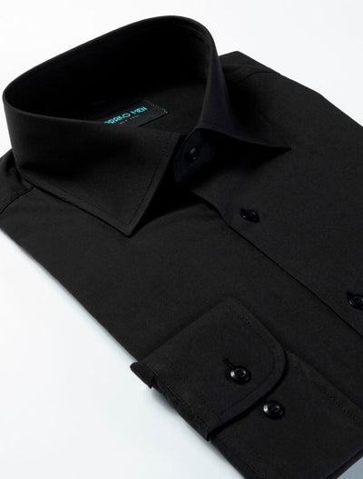 Karako Men Black Modern Fit Dress Shirt