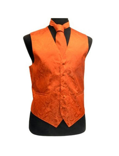Men's Paisley Orange Tuxedo Vest