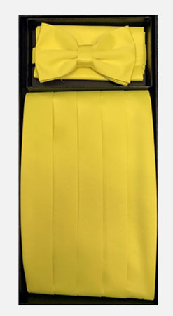 Men's Poly Yellow Cummerbund with Bow Tie & Hanky