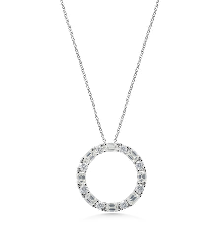Emerald Cut 'Circle of life' Pendant