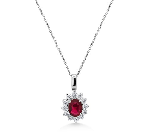 Oval Ruby Cluster Pendant