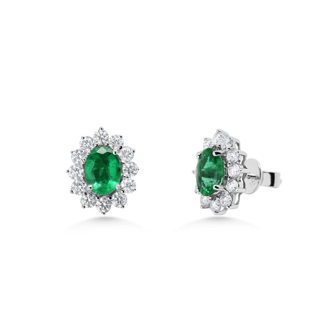Oval Emerald Cluster Earrings