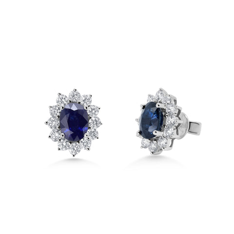 Oval Sapphire Cluster Earrings