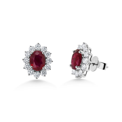 Oval Ruby Cluster Earrings