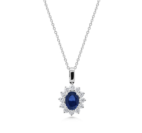 Oval Sapphire Cluster Pendant