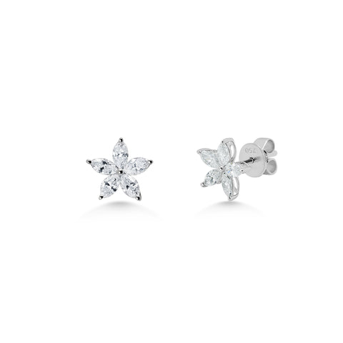 Diamond 5 Stone Petal Earrings