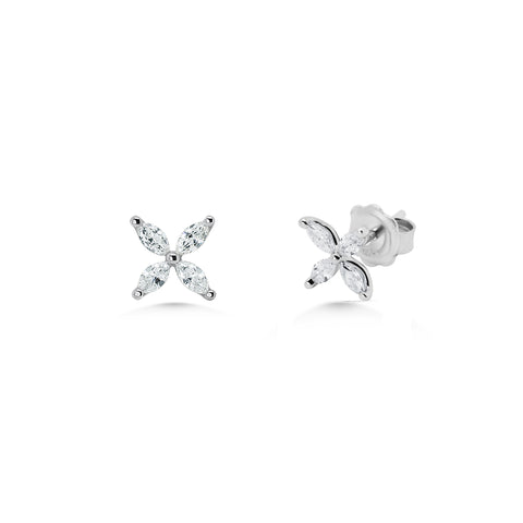 Diamond 4 Stone Petal Earrings