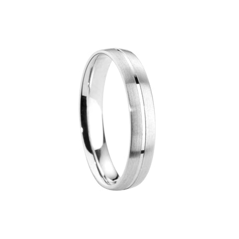 Satin Polished Centre Groove Court Band - Jade Wedding Rings