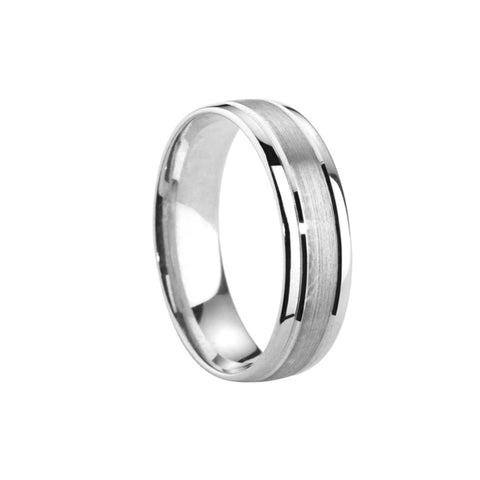 Satin Centre Polished Edge Court Band - Jade Wedding Rings