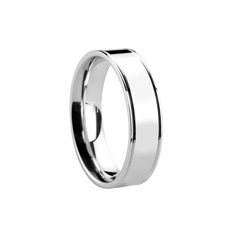 Satin Centre Flat Court Band - Jade Wedding Rings