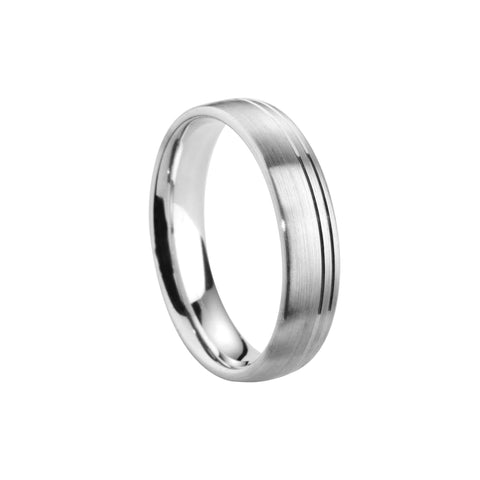 Satin Finish Grooved Court Band - Jade Wedding Rings