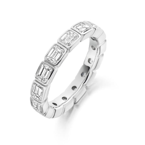 Emerald Cut Rubover 3.00ct Full - Jade Wedding Rings