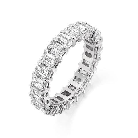 Emerald Cut Claw Set 4.30ct Full - Jade Wedding Rings