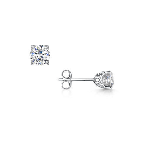 Diamond Lily Stud Earrings