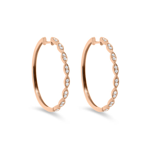 Diamond Vintage Style Hoop Earrings