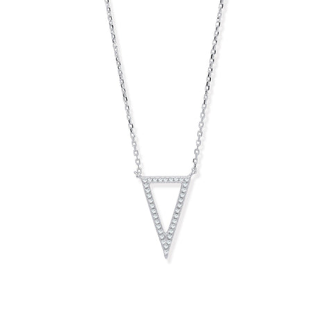 "Upside down Triangle 16"" Necklace - Jade Wedding Rings"